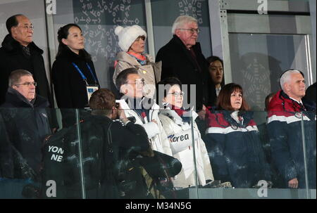 International Olympic Committee (IOC) President Thomas Bach, South Korea's President Moon Jae-in with his wife Kim - Stock Photo