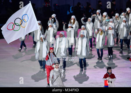 Pyeongchang, South Korea. 9th Feb, 2018. Olympic Athletes from Russia file into the stadium during the opening ceremony - Stock Photo