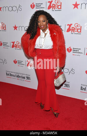 New York, USA. 8th Feb, 2018. Star Jones attends the American Heart Association's Go Red For Women Red Dress Collection - Stock Photo
