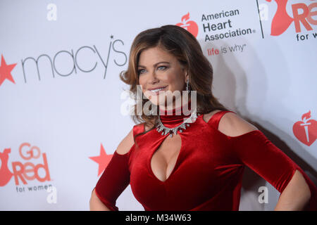 New York, USA. 8th Feb, 2018. Kathy Ireland attends the American Heart Association's Go Red For Women Red Dress - Stock Photo
