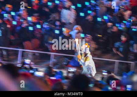 Pyeongchang, South Korea. 9th Feb, 2018.  Opening ceremony at 2018 Pyeongchang winter olympics at Pyeongchang olympic - Stock Photo