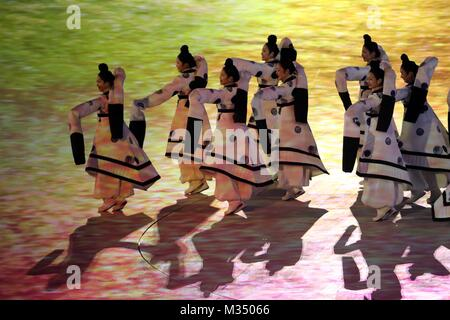 PyeongChang, South Korea. 9th Feb, 2018. Performers in action during the Opening Ceremony for the 2018 Pyeongchang - Stock Photo