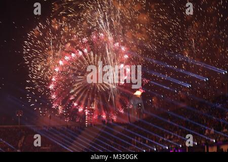 PyeongChang, South Korea. 9th Feb, 2018. Fireworks during the Opening Ceremony for the 2018 Pyeongchang Winter Olympic - Stock Photo