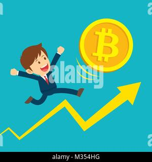 Businessman running on graphs are happy at the bitcoin prices up. Cryptocurrency market concept. Flat cartoon character - Stock Photo