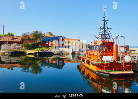 Pilot boat in Vasterhamn (west harbour) on the island of Oja (Landsort), the southernmost point in the Stockholm - Stock Photo