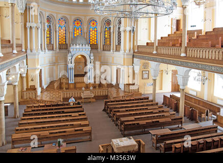 ST-PETERSBURG, RUSSIA - JULY 30, 2015: The Grand Choral Synagogue. The Main Hall. View from the gallery for women. - Stock Photo