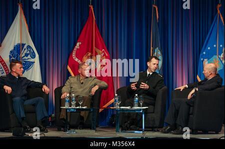 From left, Commandant of the Coast Guard Adm. Paul F. Zukunft, Commandant of the Marine Corps Gen. Robert B. Neller, - Stock Photo