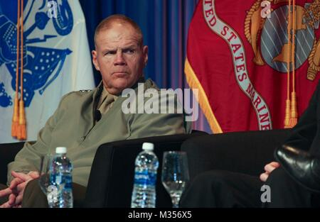 Commandant of the Marine Corps Gen. Robert B. Neller speaks to military service members and attendees at the Sea Service Chiefs Town Hall Luncheon at the San Diego Convention Center, San Diego, Calif., February 8, 2018. Neller spoke about the Marine Corps and answered questions from the audience. (U.S. Marine Corps photo by Sgt. Olivia G. Ortiz)