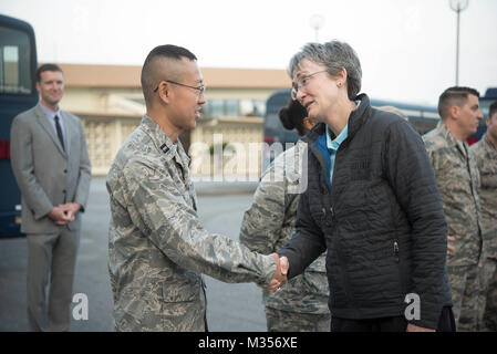 Secretary of the Air Force Heather Wilson coins Capt. Kevin Liu, 961st Airborne Air Control Squadron project officer, - Stock Photo