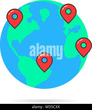 earth globus with map pins - Stock Photo