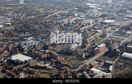 aerial view of Bolton town centre from the north west, UK - Stock Photo