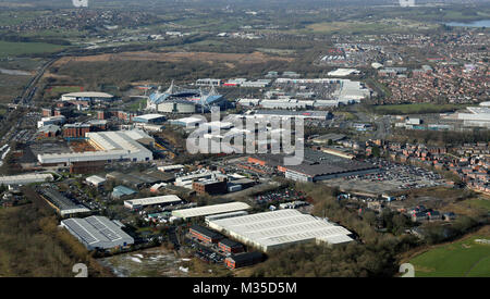 aerial view of the Reebok development at Bolton, UK - Stock Photo
