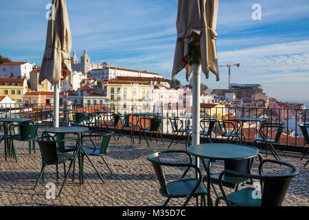 Lisbon (Portugal) - View of Alfama from Largo de Santa Luzia - Stock Photo