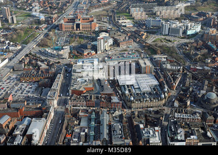 aerial view of Leeds city centre, UK - Stock Photo