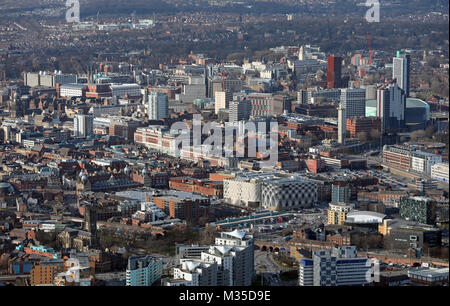 aerial view of Leeds city centre & Headingley in the background, West Yorkshire, UK - Stock Photo