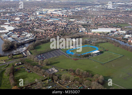 aerial view of Victoria Park & Warrington town centre, Cheshire, UK - Stock Photo