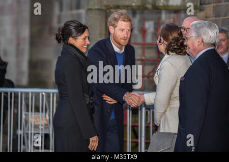 Prince Harry and Meghan Markle visit Cardiff as part of their UK tour to announce their engagement, 18th January - Stock Photo
