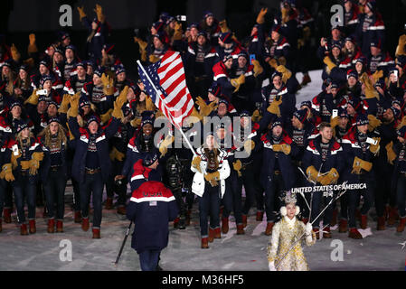 United States of America flag bearer Erin Hamlin leads out her team during the Opening Ceremony of the PyeongChang - Stock Photo