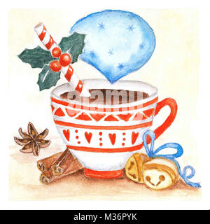 Cup with hot drink . Christmas watercolor illustration . - Stock Photo
