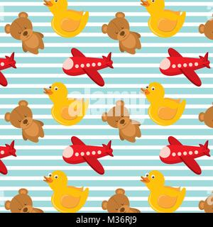 toys airplane teddy and rubber duck bakground design - Stock Photo