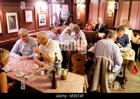 Restaurant Chez Yvonne, Strasbourg, Alsace, France - Stock Photo