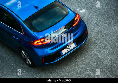 Trieste, Italy - August 2, 2017: The Hyundai Ioniq is a Compact five-door hatchback manufactured and marketed by - Stock Photo
