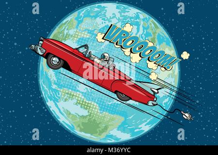 Astronaut in an electric car over the planet Earth. Pop art retro vector illustration comic cartoon hand drawn vector - Stock Photo