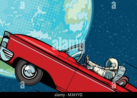 Astronaut in a car over the planet Earth. Pop art retro vector illustration comic cartoon hand drawn vector - Stock Photo