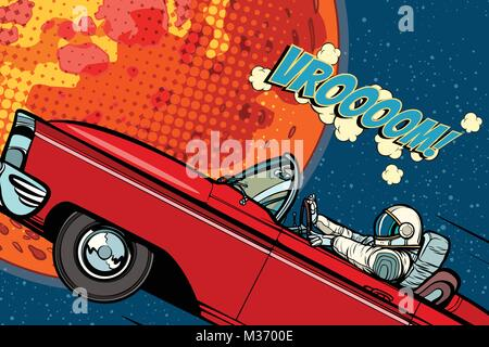 Astronaut in a car over the planet Mars. Pop art retro vector illustration comic cartoon hand drawn vector - Stock Photo