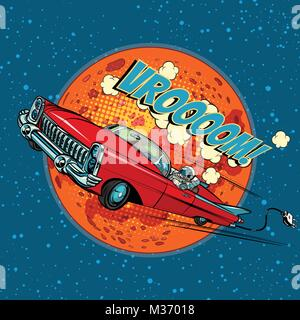 Astronaut in electric car over Mars. Pop art retro vector illustration comic cartoon hand drawn vector - Stock Photo