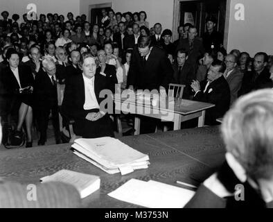 Wife of National Socialist and Reich Marshal Hermann Göring, Emmy Göring, on 21 July 1948, in denazification court - Stock Photo
