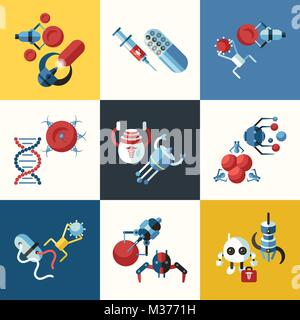 Digital smart medical nano robots concept objects color simple flat icon set collection, isolated healthcare, dna - Stock Photo