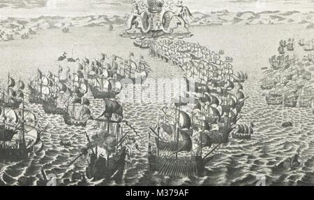 English fleet engaging the Spanish Armada, 1588 - Stock Photo