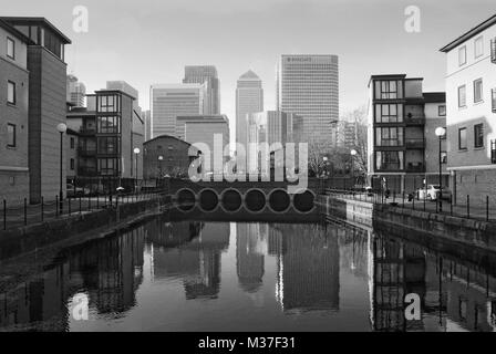 Canary Wharf, Isle of Dogs, East London UK, looking west from the River Thames - Stock Photo