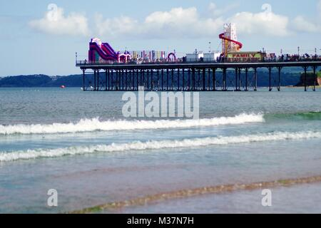Paington Pier, Pleasure Pier and Family Amusements on the day of Torbay Airshow, 2016. South Devon, English Riviera, - Stock Photo