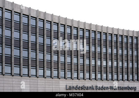 Stuttgart, Germany - February 03, 2018: The modern facade and the logo of the Landesbank Baden-Württemberg a financial - Stock Photo