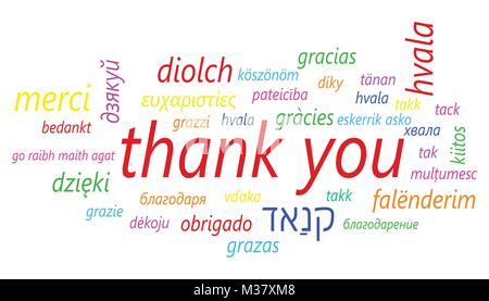 Colorful thank you in many languages vector icon. Global thank you text flat vector illustration. Business concept - Stock Photo