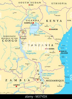 Lake Malawi Africa Map.Map Of Lake Malawi Stock Photo 165456360 Alamy