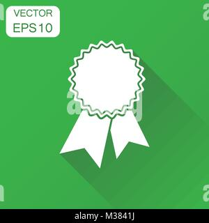 Badge with ribbon icon. Business concept award pictogram. Vector illustration on green background with long shadow. - Stock Photo