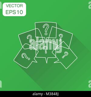 Question marks in thought bubbles icon. Business concept question pictogram. Vector illustration on green background - Stock Photo