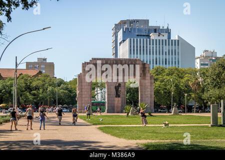 Expedicionario monument Arches at Farroupilha Park or Redencao Park - Porto Alegre, Rio Grande do Sul, Brazil - Stock Photo