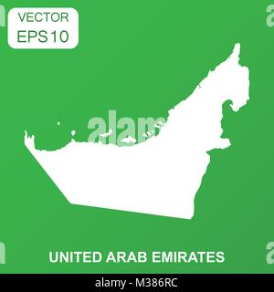 United Arab Emirates map icon. Business concept Arab Emirates pictogram. Vector illustration on green background. - Stock Photo