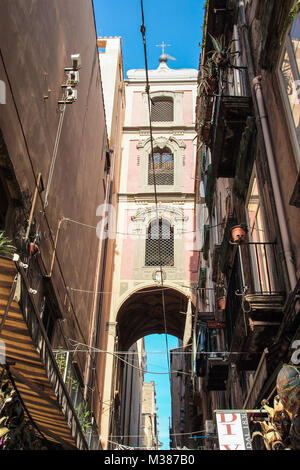 NAPLES , ITALY ON 10/16/2016 - the bell tower of san gregorio armeno in Naples, Italy - Stock Photo