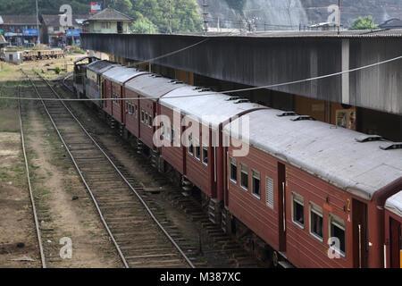 Peradeniya Junction Station Kandy Central Province Sri Lanka Train Waiting At Station - Stock Photo