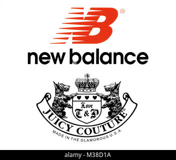 Kiev, Ukraine - October 27, 2017: Collection of popular sportswear manufactures logos printed on paper: New Balance - Stock Photo