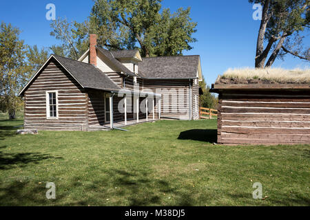MT00101-00...MONTANA - House at Chief Plenty Coups State Park on yjr Crow Indian Reservation. - Stock Photo