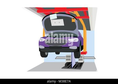 Illustration of assembly belt production in automobile industry, vector of series production of cars/ assembly-line - Stock Photo