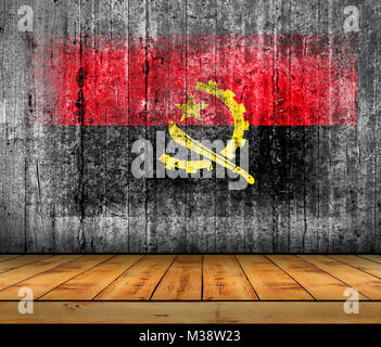 Angola flag painted on background texture gray concrete with wooden floor - Stock Photo