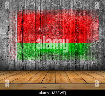 Belarus flag painted on background texture gray concrete with wooden floor - Stock Photo