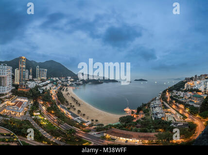 View of Repulse Bay beach in Hong Kong.at night. - Stock Photo